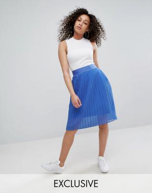 Adidas Плиссированная юбка миди из шифона Originals. Цвет: синий