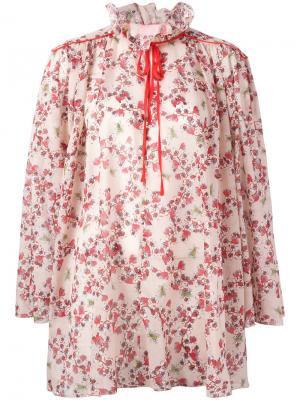 Блузка с цветочным принтом Giamba. Цвет: телесный