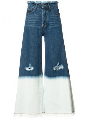 Широкие укороченные джинсы Maison Mihara Yasuhiro. Цвет: синий