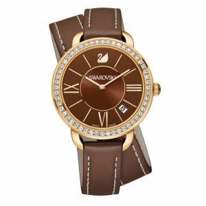 Наручные часы Aila Day Double Tour с кожаным ремешком Swarovski. Цвет: коричневый