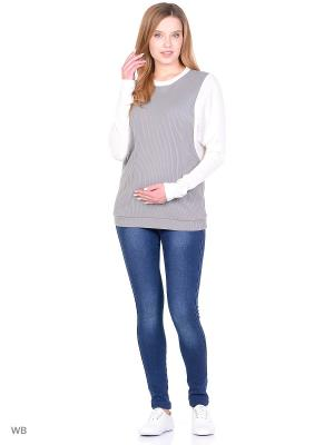 Джинсы на флисе для беременных 40 недель. Цвет: синий