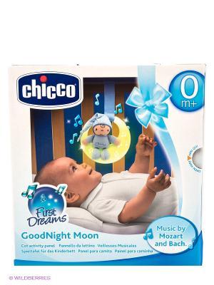 Подвеска для кроватки музыкальная Спокойной ночи, луна голубая CHICCO. Цвет: голубой