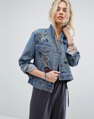 Honey Punch Джинсовая куртка с вышивкой. Цвет: синий