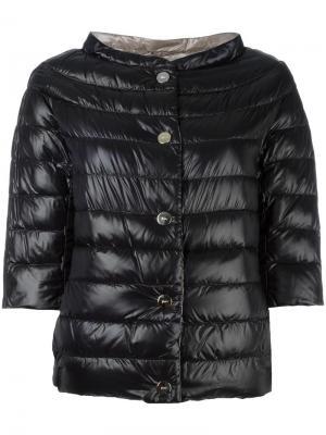 Куртка-пуховик с высокой горловиной и рукавами три четверти Herno. Цвет: чёрный