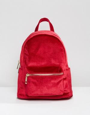 QUPID Бархатный мини-рюкзак. Цвет: красный
