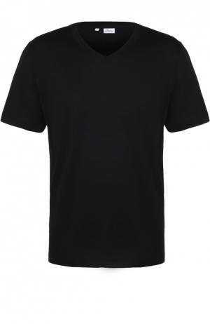 Хлопковая футболка с V-образным вырезом Brioni. Цвет: черный