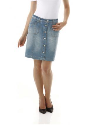 Джинсовая юбка CHEER. Цвет: белый, синий варенка