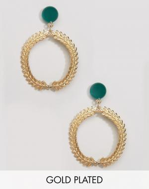 Gogo Philip Позолоченные серьги с кольцами. Цвет: золотой