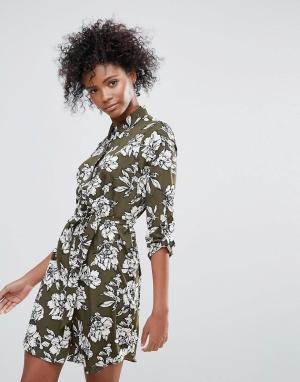 Urban Bliss Платье-рубашка с принтом Yvonne. Цвет: зеленый