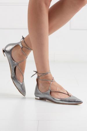 Кожаные туфли Christy Flat Aquazzura. Цвет: серебряный