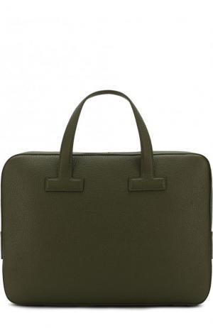 Кожаная сумка для ноутбука с плечевым ремнем Tom Ford. Цвет: оливковый