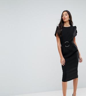 ASOS Tall Платье миди с разрезами на рукавах и кольцом поясе. Цвет: черный