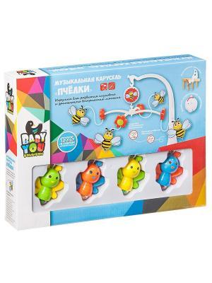 Игрушка развивающая  пластмассовая, музыкальная карусель Пчелки, Bondibon. BONDIBON. Цвет: синий, зеленый, красный