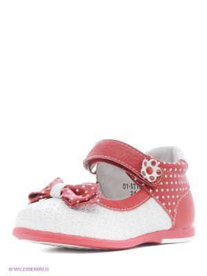 Туфли Flamingo. Цвет: белый, красный