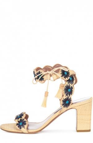 Босоножки из рафии Ollie с вышивкой Tabitha Simmons. Цвет: бежевый