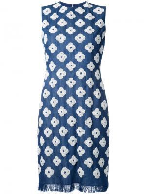 Джинсовое платье с цветочным узором Huishan Zhang. Цвет: синий
