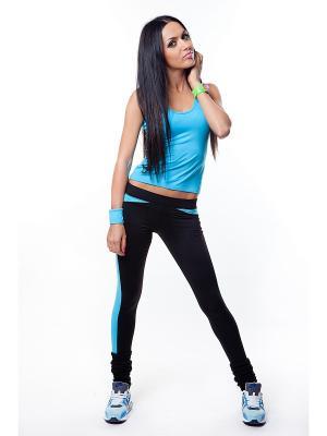 Леггинсы DZETA. Цвет: черный, светло-голубой
