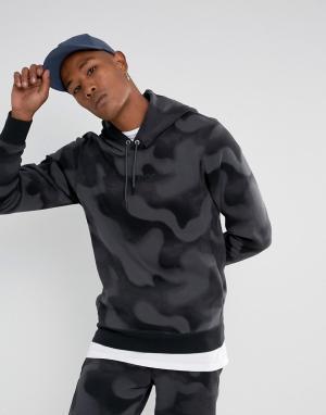 Jordan Флисовый худи с камуфляжным принтом Nike P51 Flight 860350-010. Цвет: черный