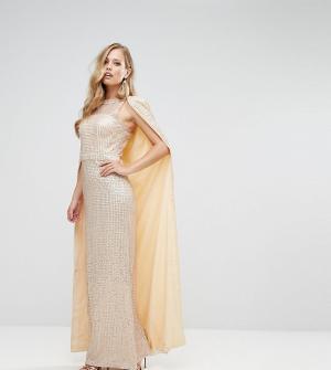 Bariano Платье макси с пайетками и кейпом. Цвет: золотой