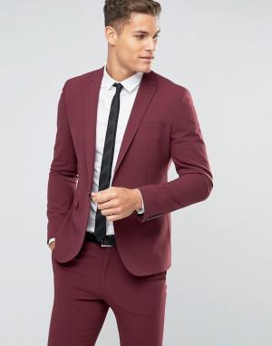 ASOS Бордовый пиджак зауженного кроя. Цвет: красный