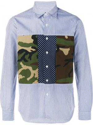 Рубашка с камуфляжными панелями Sophnet.. Цвет: синий