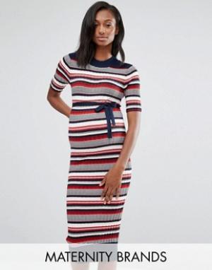 Mama.licious Вязаное платье миди в рубчик для беременных Mamalicious. Цвет: мульти
