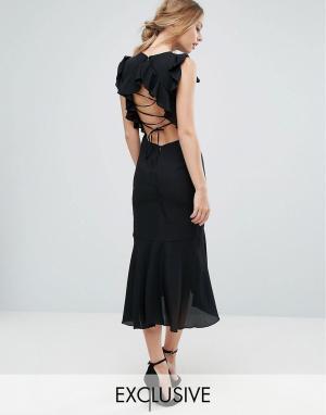 Hope and Ivy Платье миди со шнуровкой на спине и оборками &. Цвет: черный