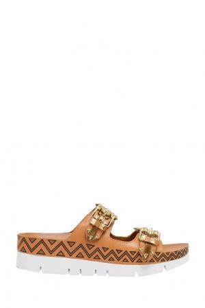 Кожаные сандалии Talita ASH. Цвет: бежевый, золотой
