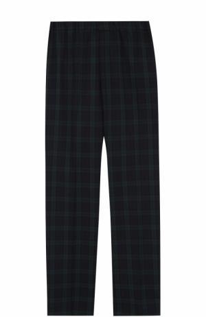 Шерстяные брюки в клетку с эластичной вставкой на поясе Caf. Цвет: синий