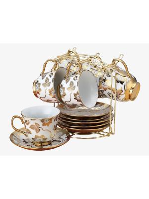 Чайный набор фарфор 13 предметов Florance. Цвет: белый, золотистый