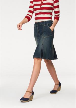 Джинсовая юбка CHEER. Цвет: синий потертый