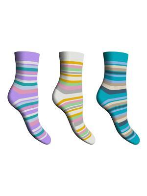 Носки 3 пары Master Socks. Цвет: сиреневый, белый, бирюзовый