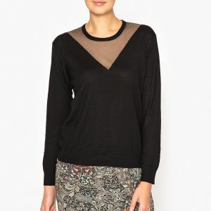 Пуловер из двух материалов IKKS. Цвет: черный