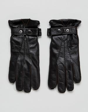 Paul Costelloe Черные кожаные перчатки. Цвет: коричневый