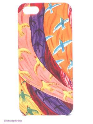 Чехол для IPhone 5 Платки и птицы-2 Mitya Veselkov. Цвет: красный, желтый, зеленый
