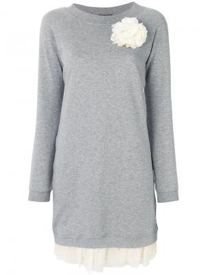 Платье-джемпер с длинными рукавами Twin-Set. Цвет: серый