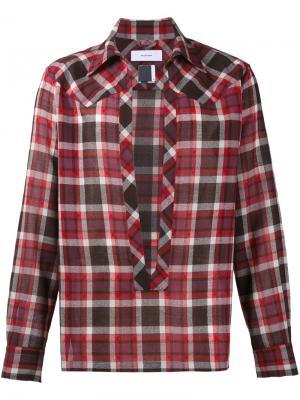 Клетчатая рубашка с разрезом спереди Facetasm. Цвет: красный