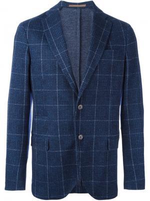 Пиджак на одну пуговицу с узором Eleventy. Цвет: синий