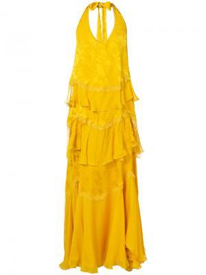 Длинное жаккардовое платье с оборками Roberto Cavalli. Цвет: жёлтый и оранжевый