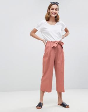 ASOS Кюлоты с отворотами и завязывающимся поясом Tailored. Цвет: розовый