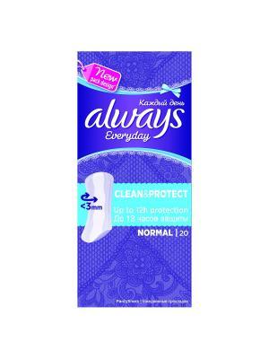 Always каждый день Clean & Protect ежедневные гигиенические прокладки нормал  20 шт. Цвет: темно-фиолетовый