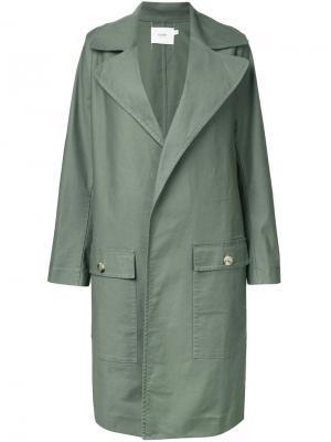 Объемное пальто Bassike. Цвет: зелёный