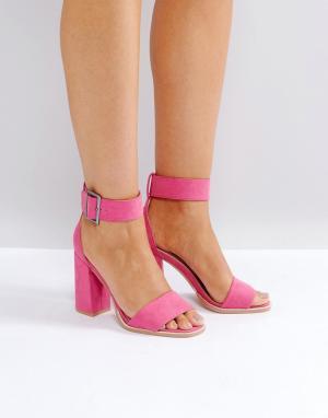 Raid Розовые босоножки на блочном каблуке Marina. Цвет: розовый