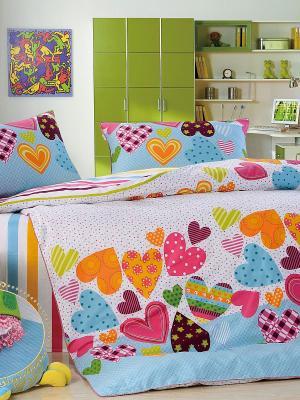 Комплект постельного белья, Валентинки, 1.5 спальный (детский) KAZANOV.A.. Цвет: голубой, оранжевый, белый