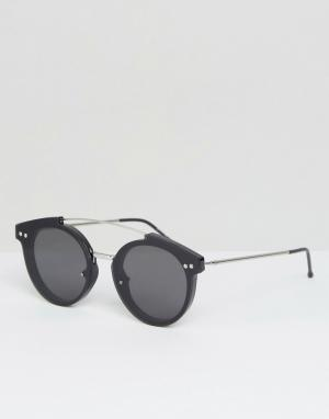 Spitfire Черные круглые солнцезащитные очки с металлической планкой. Цвет: черный