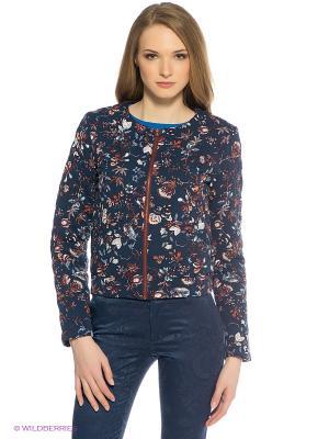Куртка Oodji. Цвет: темно-синий, коричневый