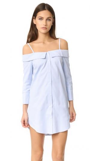 Платье на пуговицах с открытыми плечами ENGLISH FACTORY. Цвет: голубой