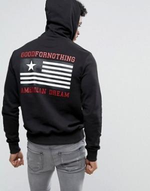 Good For Nothing Худи черного цвета с принтом на спине. Цвет: черный