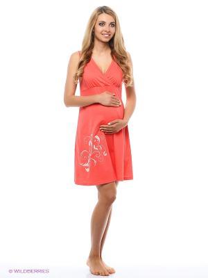 Ночная сорочка для беременных и кормящих Hunny Mammy. Цвет: коралловый