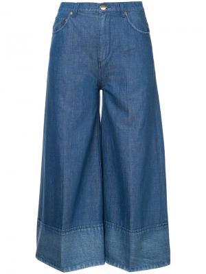 Широкие укороченные джинсы Co. Цвет: синий